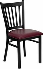 NEW METAL DESIGNER RESTAURANT CHAIRS W BURGUNDY  VINYL SEAT** LOT OF 20 CHAIRS**