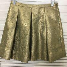Club Monaco Gold Metallic Pleated Skirt Flare Mini Pockets Zipper Festive 00 XXS