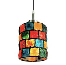 Mosaic Tiffany Style Hanging Pendant Lamp Ceiling Multicolor Square Pattern
