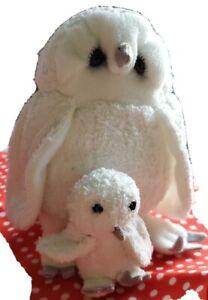 "Lou Rankin Teene Weene Friends White OWL 6"" & Baby Owl Magnetic Plush Toy  Dakin"
