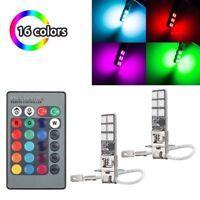 2Pcs H3 5050 RGB 12SMD LED Auto Car Headlight Fog Bulb Lights Remote Control