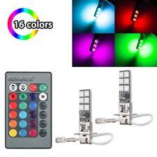2x H3 5050 RGB 12SMD LED Auto Car Headlight Fog Bulb Lamp Light Remote Control