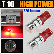 2X T10 2821 Projector 8-SMD Red LED License Plate Interior Lights Bulbs 193 194R