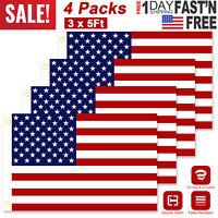 4PCS 3' x 5' FT USA US U.S. American Flag Polyester Stars Brass Grommets US Ship
