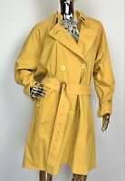 Burberry Vintage Burberry's Trench Coat Double Breasted Belted Yellow Women's 14