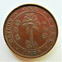 1923 CEYLON, GEORGE V, 1 Cent, grading About UNCIRCULATED.