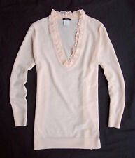 NWT J.Crew 2009 Merino Ethereal Ruffle V-neck Sweater in Pink Size M