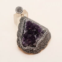 Natural Brazil Amethyst Druzy Huge Pendant 925 Sterling Silver New Year Jewelry