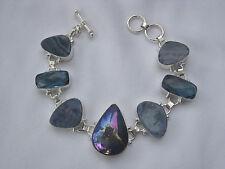 Stunning Australian Doublet Opal & Window Druzy Sterling Silver Plated Bracelet