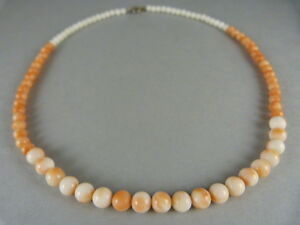 Stunning Genuine Ladies Graduated Coral Necklace Silver Clasp 16""