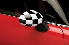 Mirror Cover Overlays Fits 2007-14 Mini Cooper- Checkered Flag (Manual Mirrors)