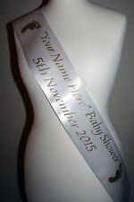 Baby Shower Party Sash, WHITE/GOLD FOOTPRINT Sashes Ribbon Your NAME & DATE