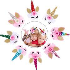 "8"" Unicorn Horn Glitter Ear Hair Clip Big Bow Baby Girl Hairpin Hair Accessories"