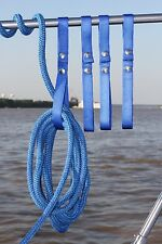 4 PK Railing Straps for holding dock line rope on boat/yacht-BLUE. Free Shipping