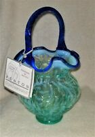 Signed WC Fenton Opalescent Fern Art Glass Basket Aqua & Cobalt Blue Handle