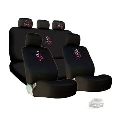 NEW EMBROIDERY PINK RED HEARTS CAR SEAT HEADREST COVERS GIFT SET FOR SUBARU