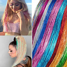 Hair Tinsel Tools 12 Colors Set Sparkling Shiny Extensions Colored Party High...