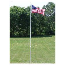 20 Ft.Valley Forge Flagpole Kit W/ 3'x5' U.S. Flag & 3'x5' Pow-Mia Flag (New)
