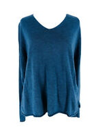 Eileen Fisher Women's Blue Linen & Cotton Long Sleeve V-Neck Knit Sweater Small