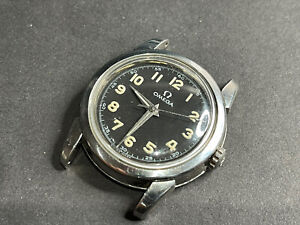 Vintage Omega Cal 430 Manual  2814-5 SC Military Style Dial Steel Watch 1957