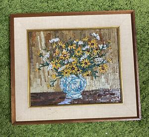 COLLAGE Mosaic Sunflower Flowers In Vase Framed Art Piece B. Benjamin