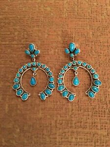 HUGE NAVAJO STYLE NAJA TURQUOISE STERLING  EARRINGS -  D. DODSON