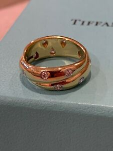 Tiffany & Co. 7mm 18k Gold and Platinum Etoile Twist Ring .35ct Size 5 3/4