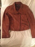 Brown Leather Jacket (Brand: Compagna ) Women's Small