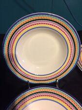 Lot of 4 Pier 1 LA PRIMULA Italy Multicolored 8 3/4 inch Soup pasta bowls