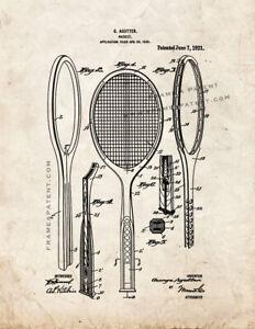 Tennis Racket Patent Print Old Look