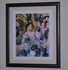 C.L. CUNNINGHAM Mixed Media Signed Framed Print Two Beautiful Women w/ Flowers