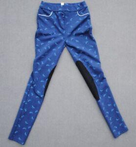 Yigga Mädchen-Leggings Kinderreithose Reithose Kniebesatz blau Gr.158