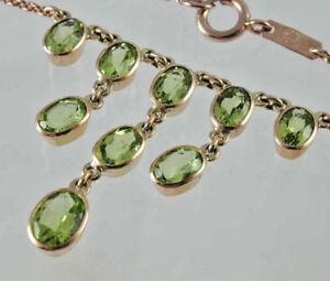 "9 carat Rose Gold Peridot multiple stone necklace 4.15 CARATS 16"" - 18"" LONG nat"