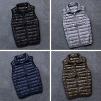 Mens Duck Down Padded Quilted Gilet Vest Bubble Sleeveless Jacket Waistcoat Top