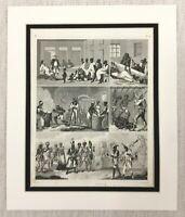 1849 Antique Engraving Print American Slaves Slavery Plantation Workers Traders