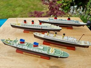 4x atlas die-cast metal model ships.titanic, France, United states queen mary