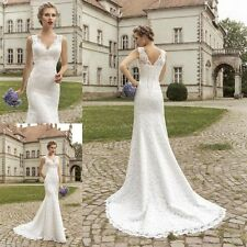 Sexy Mermaid lace white/ivory wedding dress Bridal Gown Size 4 6 8 10 12 14 16++
