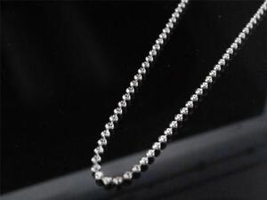 .925 Sterling Silver 14k White Gold Finish Beaded Moon Cut Chain 3mm Necklace