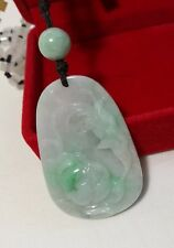 Certified Genuine grade A green Myanmar jadeite Jade hand carved flower Pendant