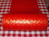 VTG CHRISTMAS STORE WRAPPING PAPER GIFT WRAP RED WITH GOLD TREE & BIRDS 2 YARDS
