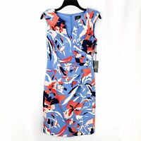 Adrianna Papell Women's Sheath Dress NWT Sz 4 Floral Blue Coral Fitted Orig $120