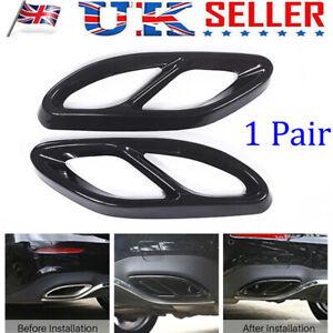 Black Exhaust Muffler Tips Tail Pipe Cover Trim For Mercedes Benz A/B/C/E Class