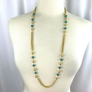 Multi Chain Gold Tone Turquoise Color Stone Bead Layered Necklace Signed B Italy
