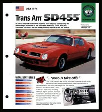 Trans Am SD455 (USA 1974) Spec Sheet 1998 HOT CARS Muscle Cars #4.92