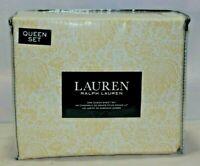 Ralph Lauren Four Piece Queen Sheet Set White Yellow Fantasy Flowers New