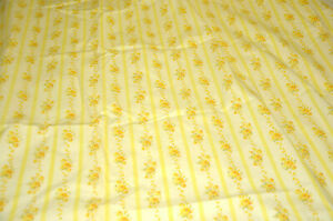 Cannon Royal Family Yellow Roses Stripe Vtg 1960 Floral Full Fitted Sheet Fabric