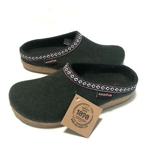 Haflinger Gz Grizzly Classic Spruce Green Unisex Size 41 Wool Slippers
