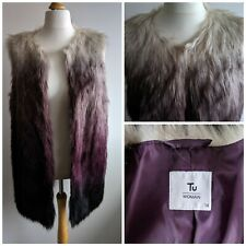 Long Faux Fur Gilet Bodywarmer Size 14 Black Purple Cream Ombre