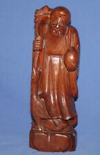 Vintage Asian Folk Hand Carving Wood Old Man Statuette