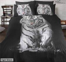 Animal Photographic Print Duvet Quilt Cover Bedding Set & Pillowcases Tiger Black Double